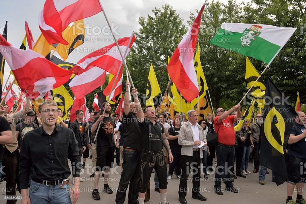 Demonstrators waving with flags stock photo