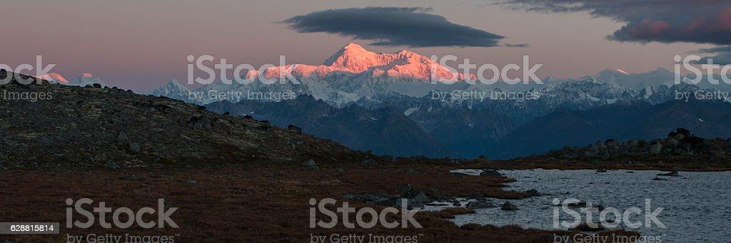 Denali at sunrise from Kesugi Ridge. stock photo