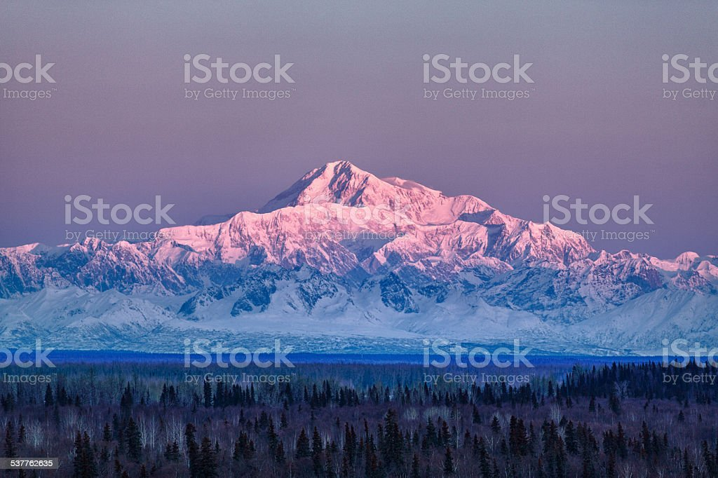 Denali at sunrise stock photo