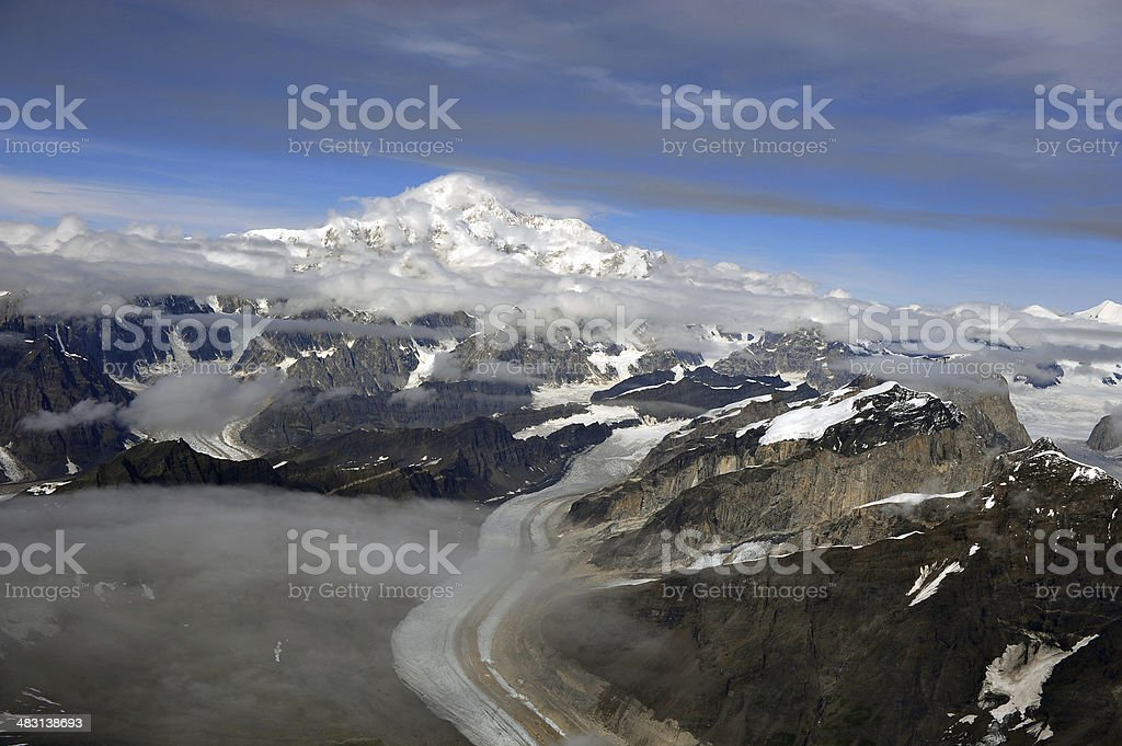 Denali, formerly named Mt. McKinley - Aerial View stock photo