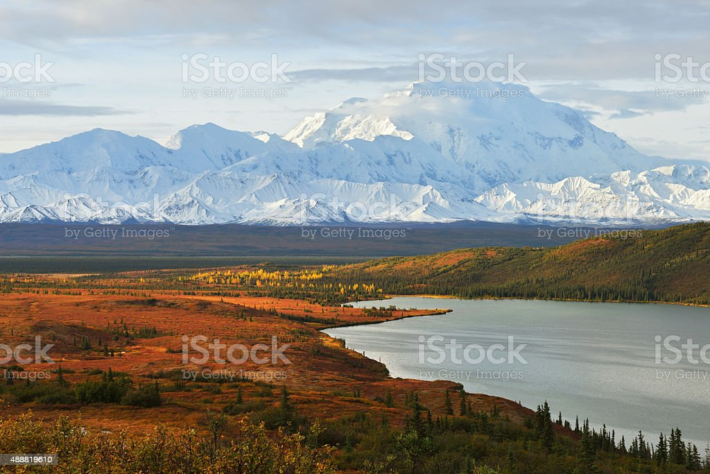 Denali Mountain and Wonder Lake at sunrise stock photo