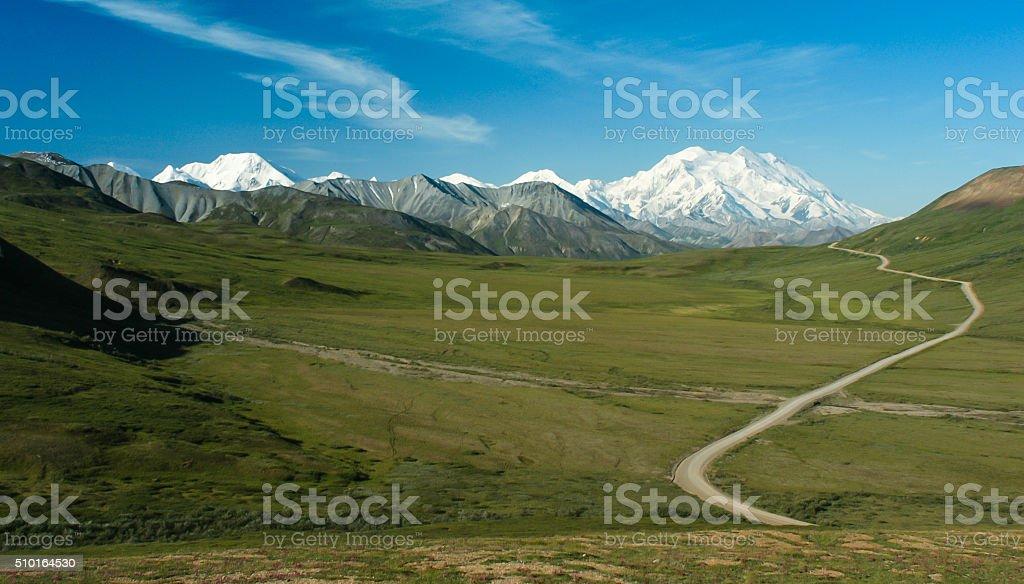Denali Mountain, Park Road and Alaska Range in Panorama stock photo
