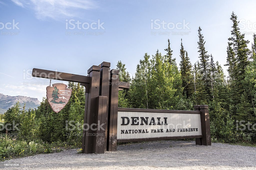Denali National Park and Preserve Sign stock photo