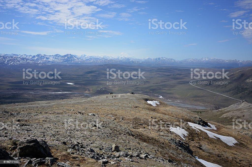 Denali national park hiking trail stock photo