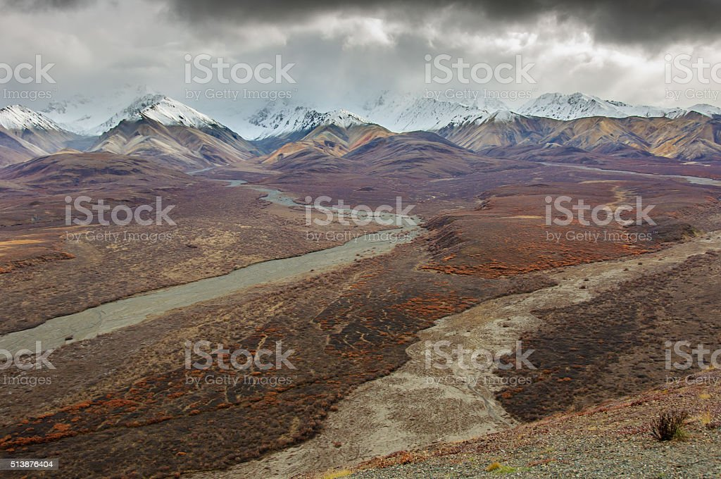 Denali National Park Landscape in Fall Colors stock photo