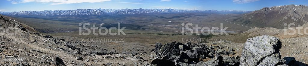 Denali national park panorama from atop Savage Alpine Trail stock photo