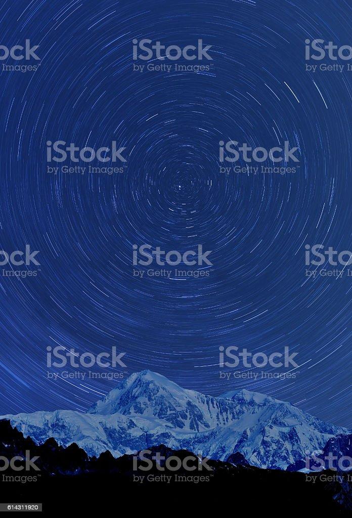 Denali under Arctic sky, Alaska, USA stock photo