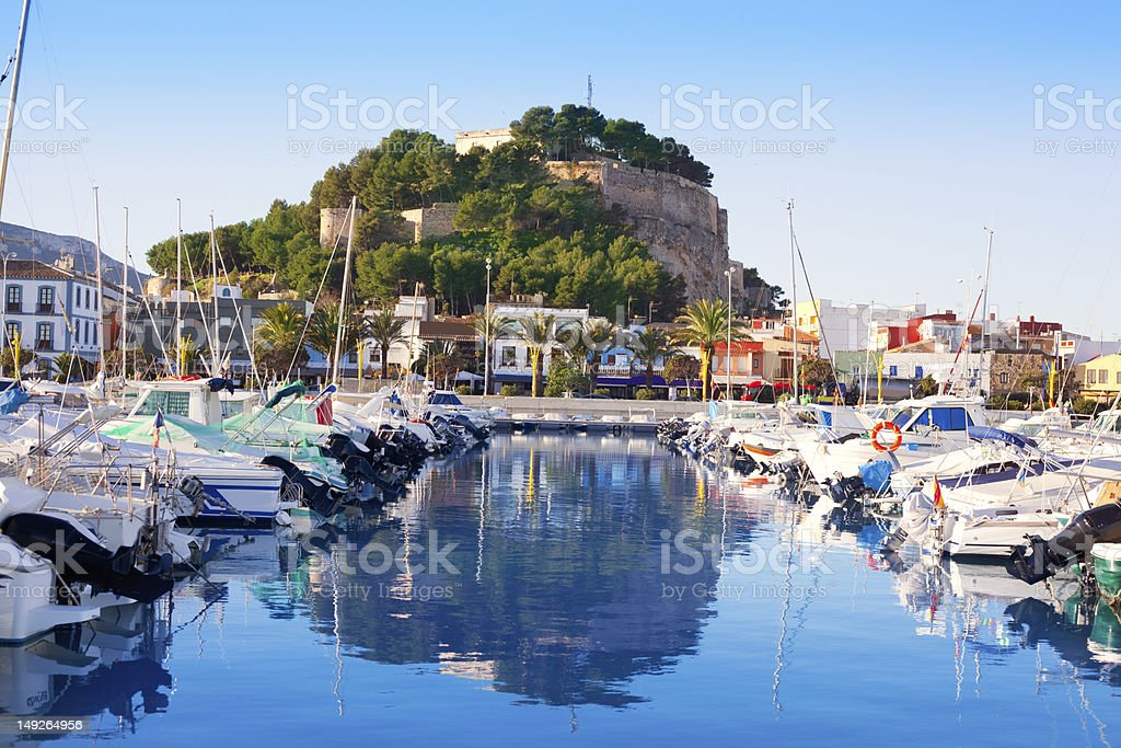 Denia mediterranean port village with castle royalty-free stock photo