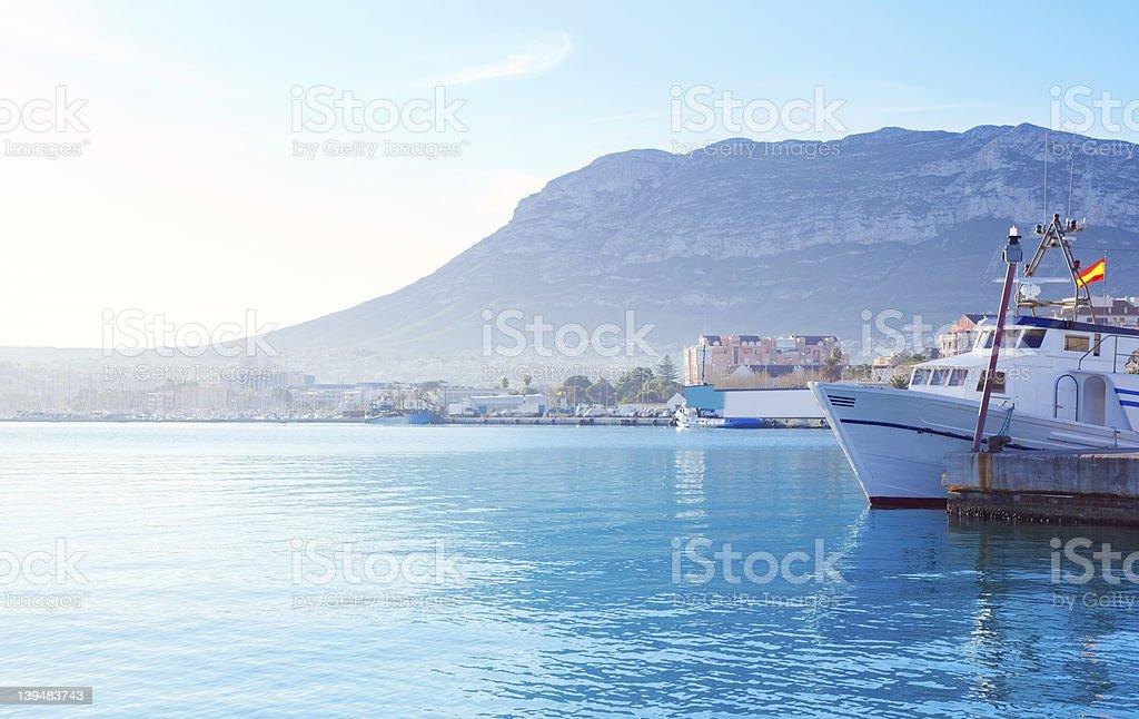 Denia mediterranean port village with Mongo royalty-free stock photo