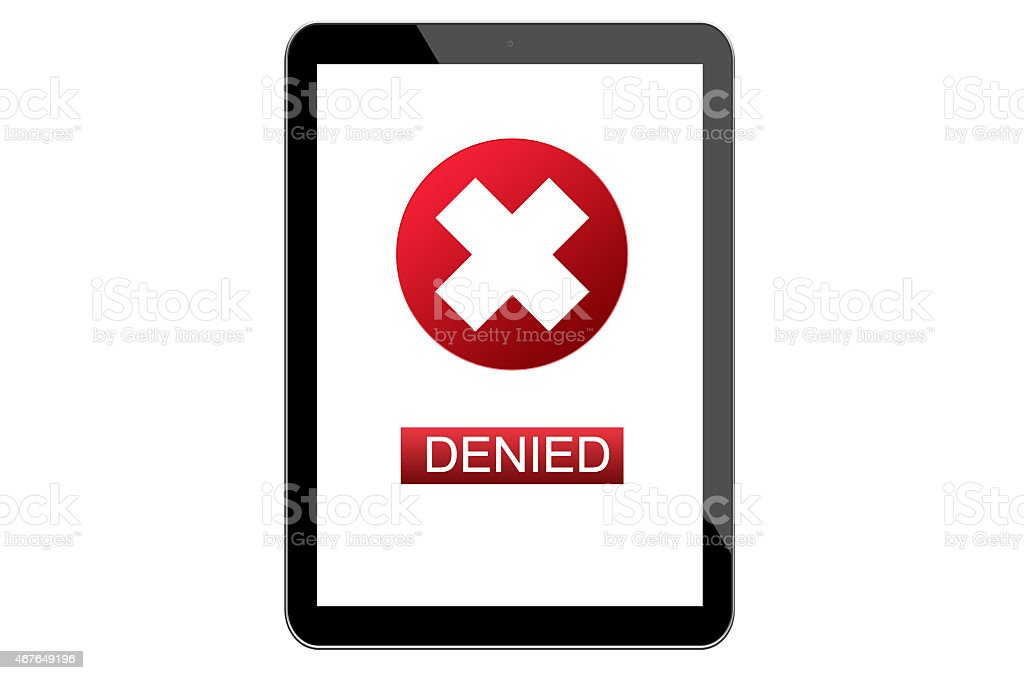 Denied prompt stock photo