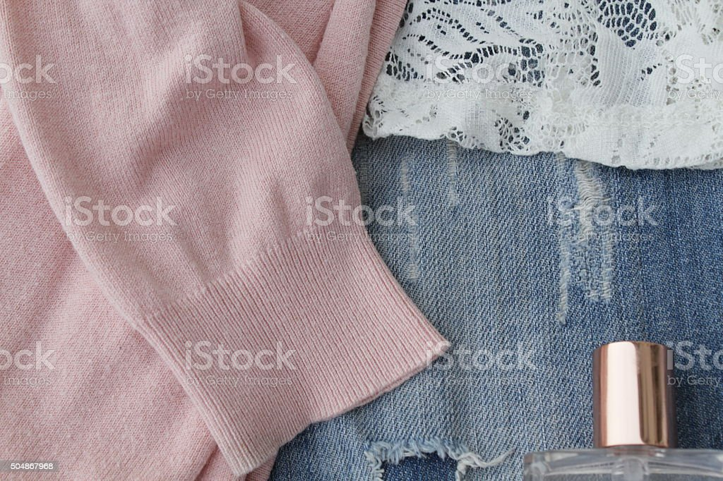 Denim and Lace stock photo