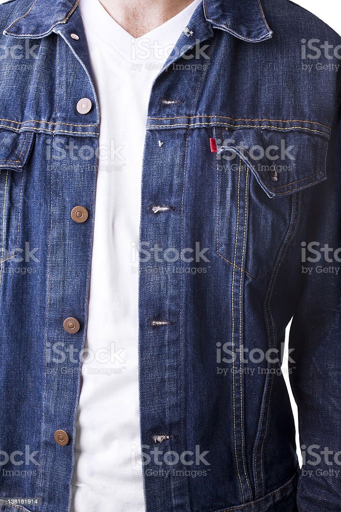 Denim jacket  and v neck t-shirt stock photo