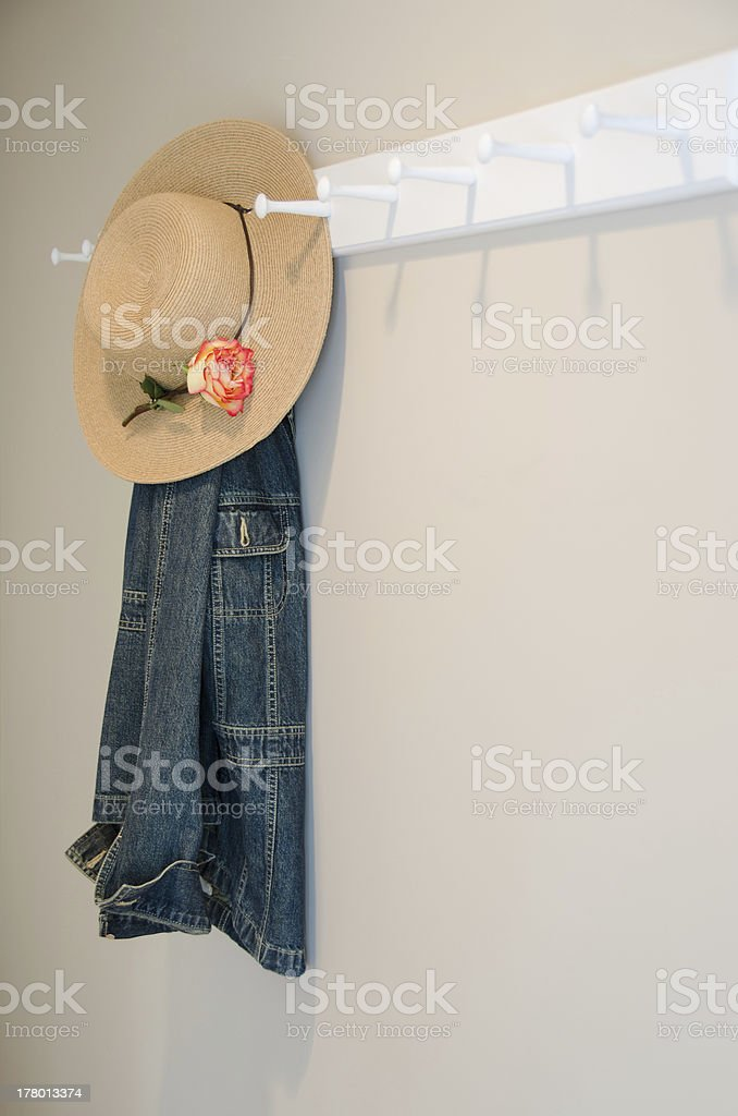 Denim Jacket with Hat and Rose stock photo