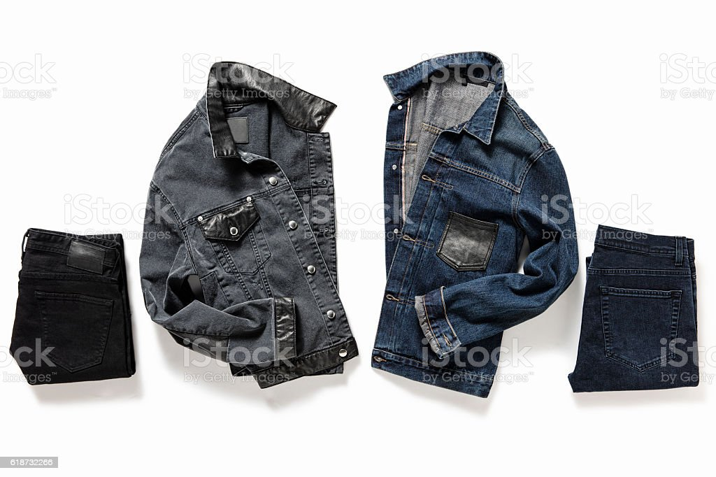 Denim jackets and pants stock photo