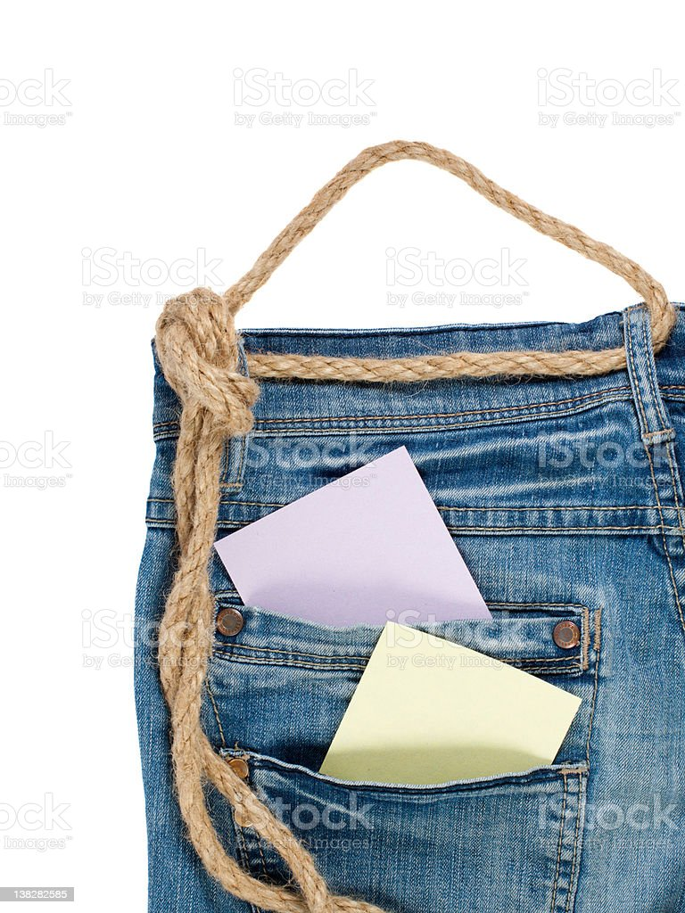 Denim Jeans with rope and memo paper royalty-free stock photo