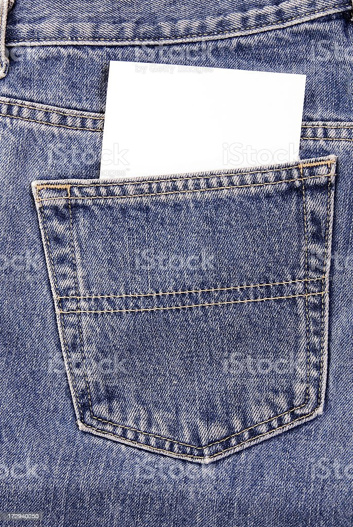 Denim Pocket with notecard stock photo