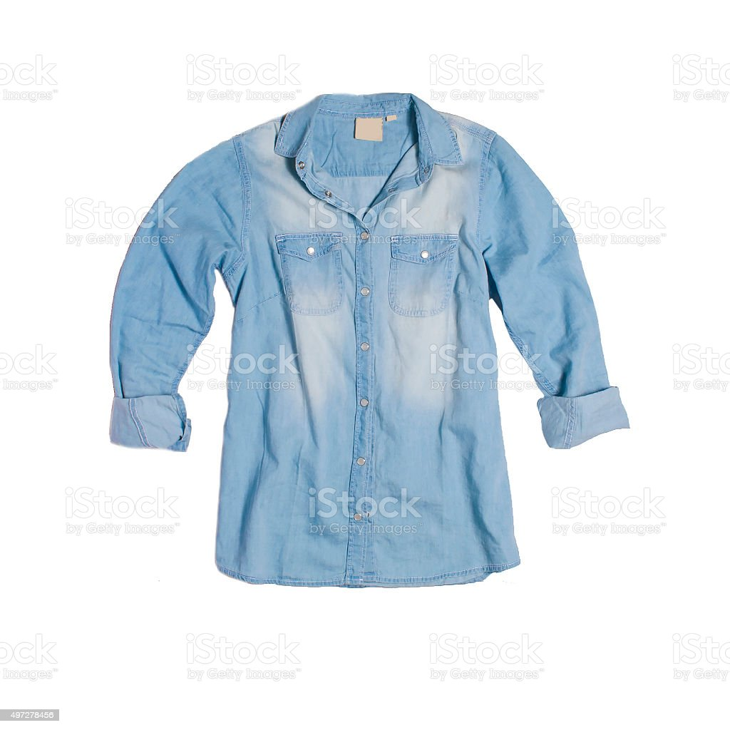 Denim shirt top view on white background stock photo