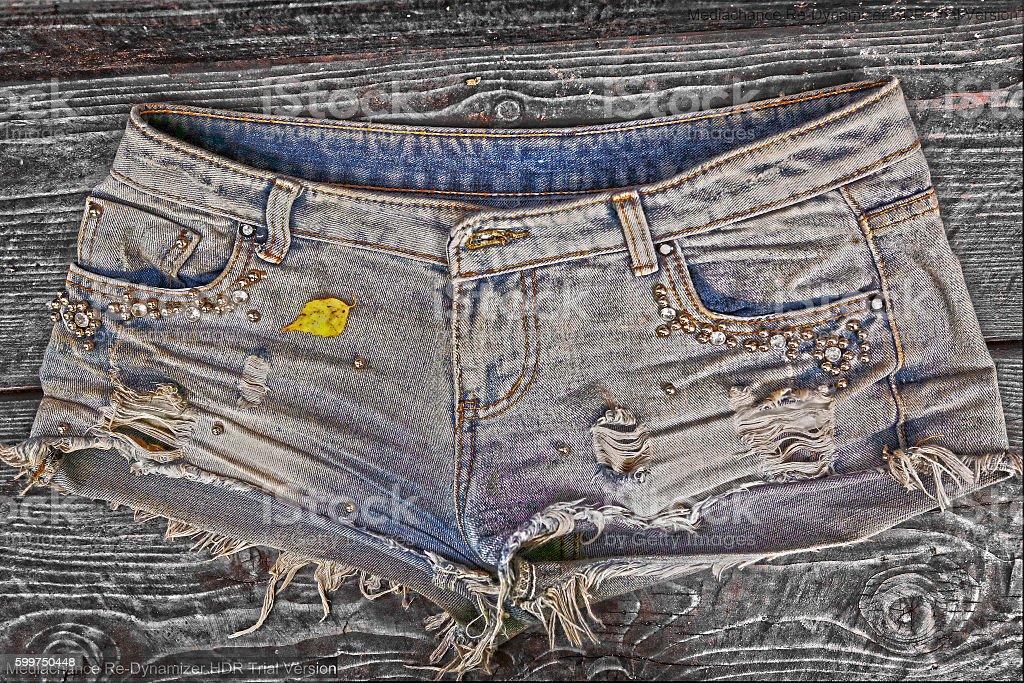 denim stylish shorts close up photo stock photo