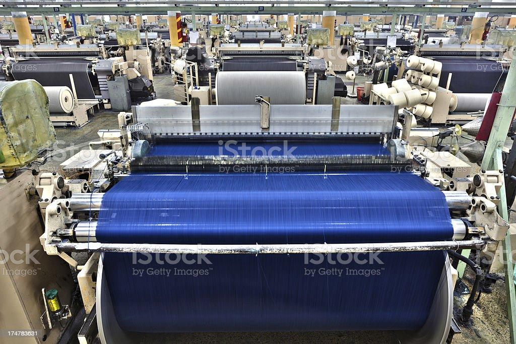 Denim Textile Industry - Big Weaving Room in HDR stock photo