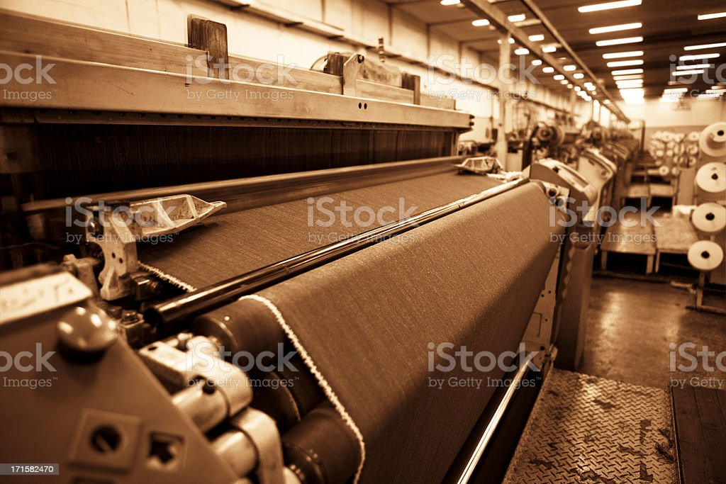 Denim Textile Industry - Jeans on Airjet Weaving Looms stock photo