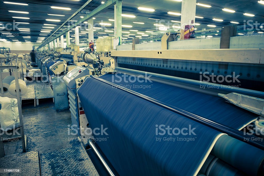 Denim Textile Industry - Making Jeans Fabric Airjet Looms stock photo