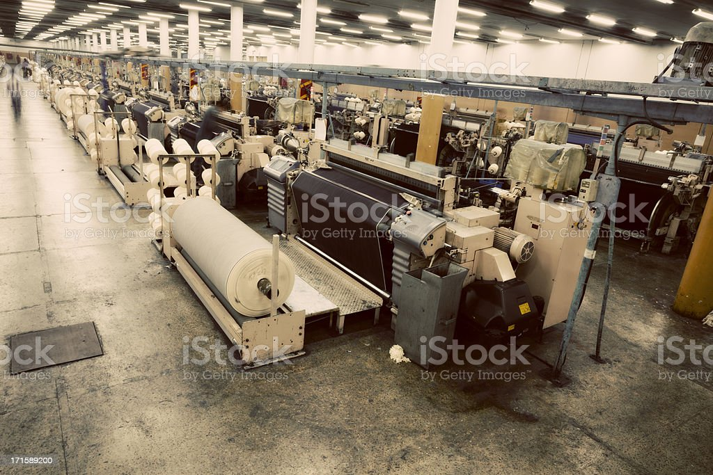Denim Textile Industry - Weaving Jeans Fabric on Airjet Looms royalty-free stock photo