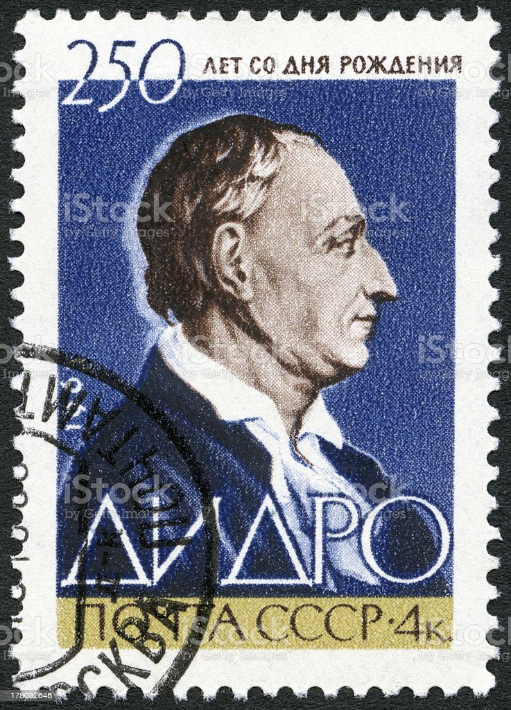 USSR 1963 Denis Diderot (1713-1784) royalty-free stock photo