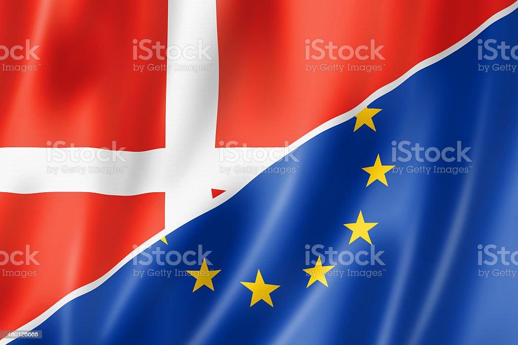 Denmark and Europe flag stock photo