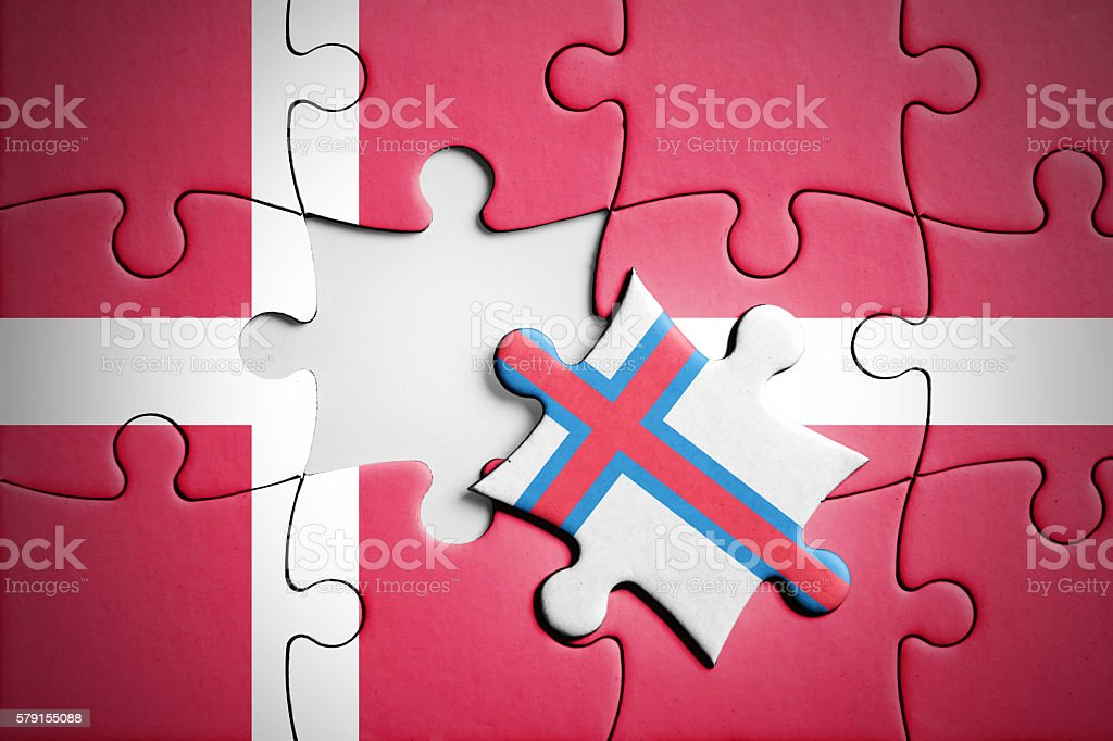 Denmark and Faroe Islands. Separatism concept puzzle. stock photo