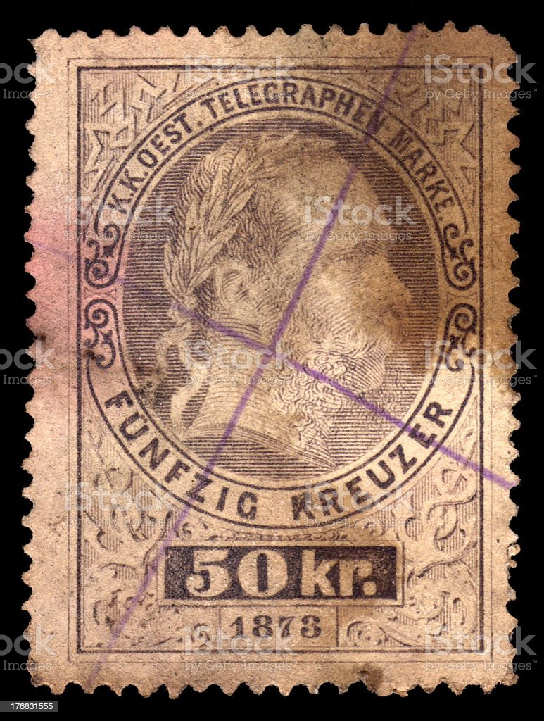 Denmark Antique Postage Stamp Dated 1873 stock photo