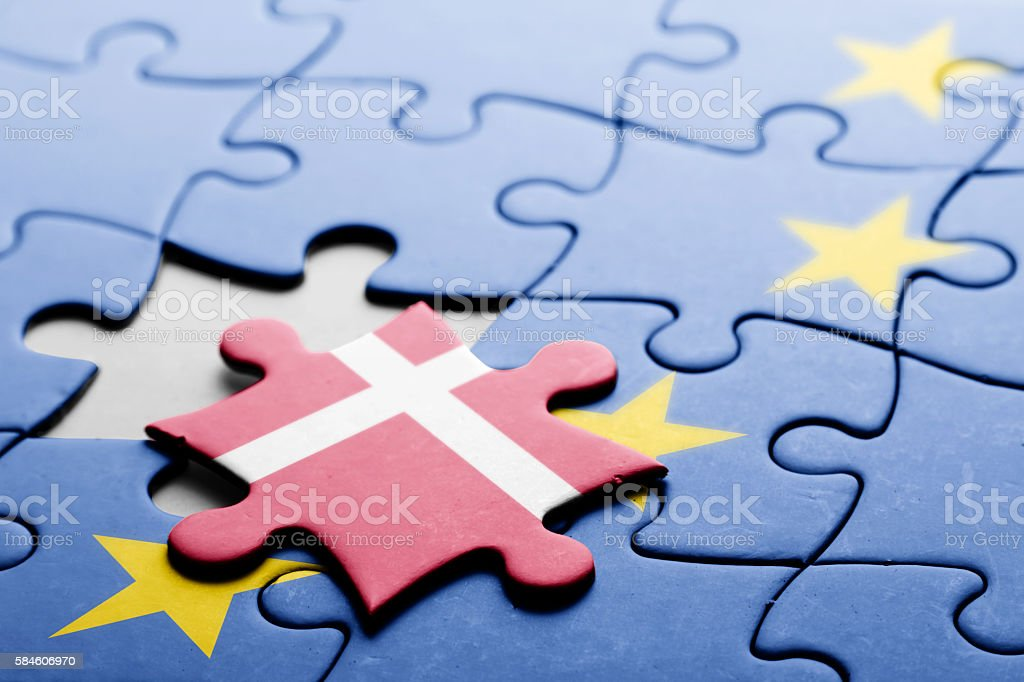 Denmark. Exit from European Union concept puzzle stock photo