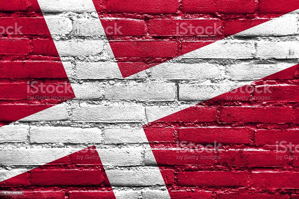 Denmark Flag painted on brick wall stock photo
