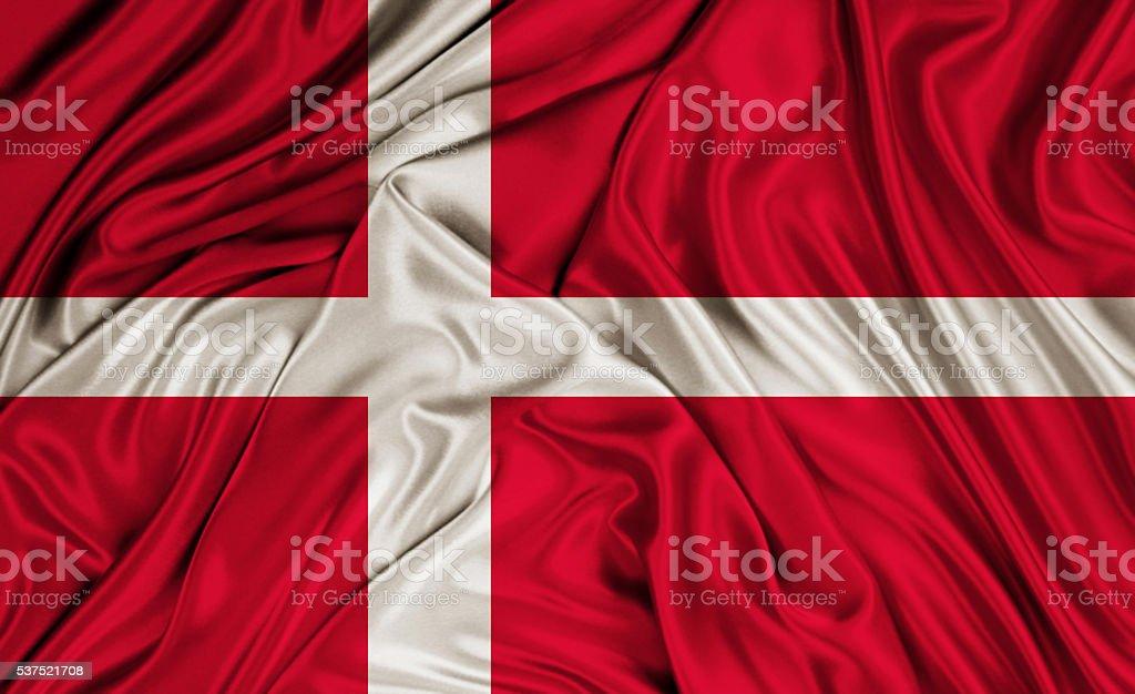 Denmark flag - silk texture stock photo