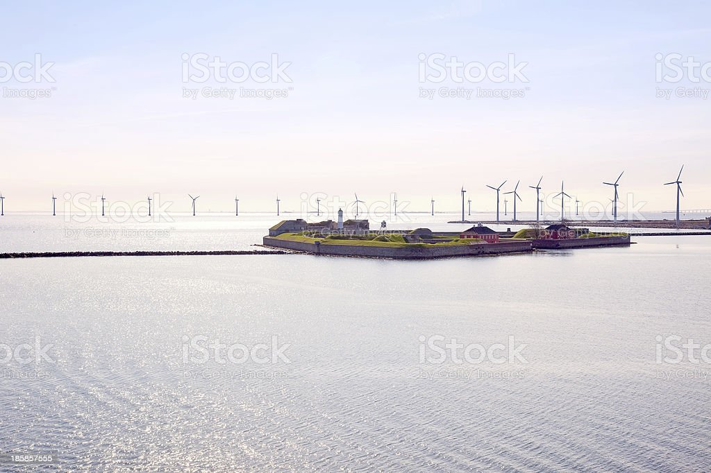 Denmark. Fortress Trekroner and wind generators stock photo