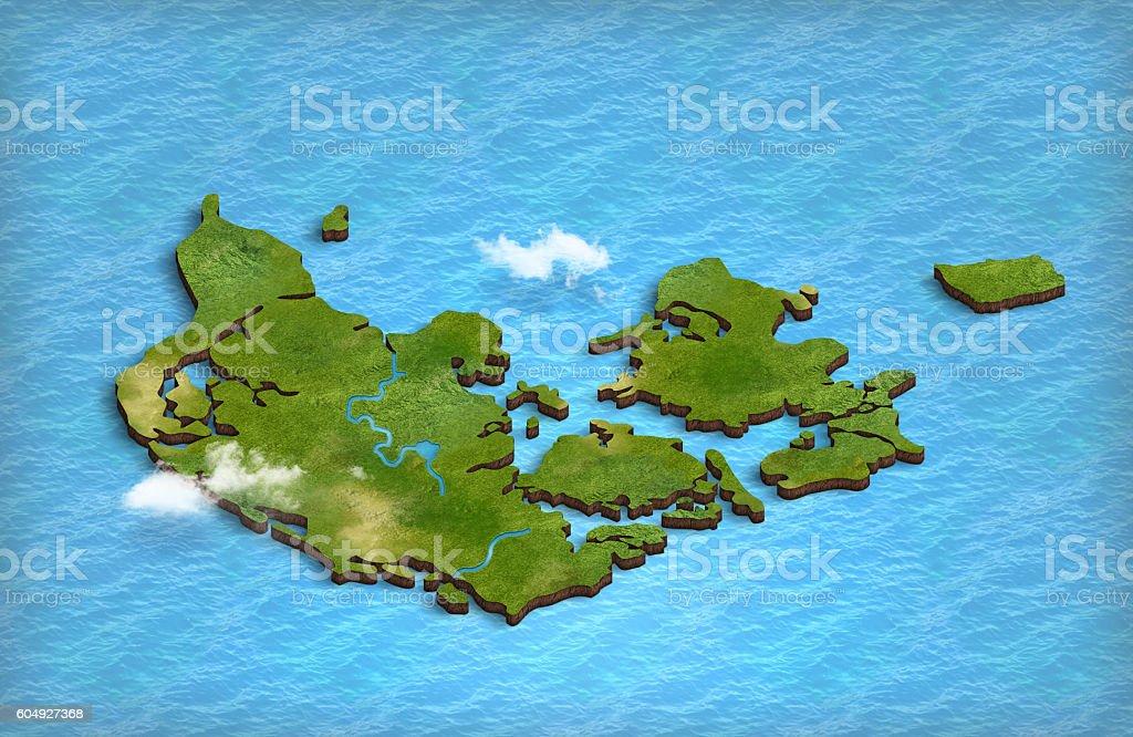 Denmark map in 3d in the ocean stock photo