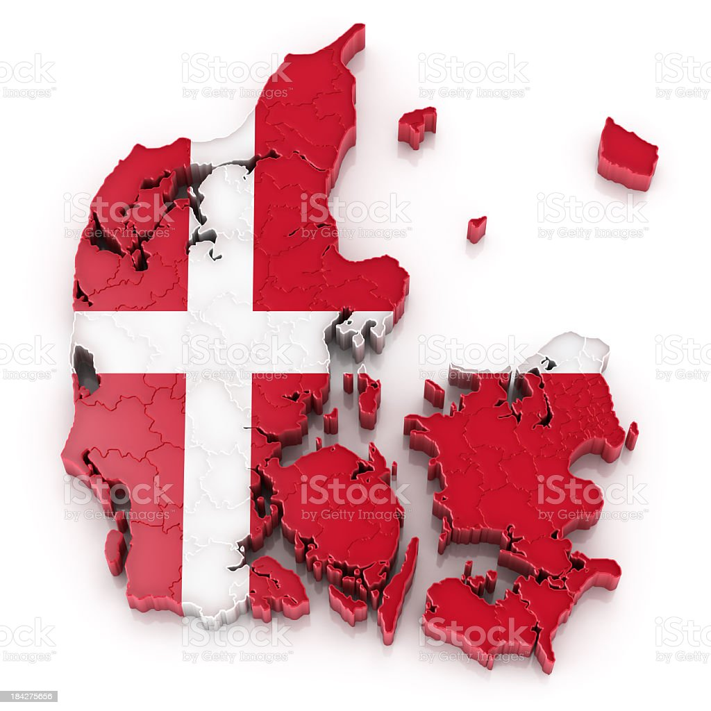 Denmark map with flag royalty-free stock photo