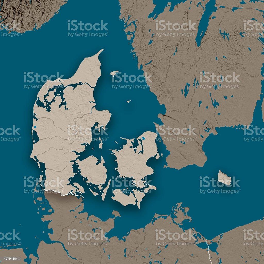 Denmark Topographic Country Map Gray stock photo