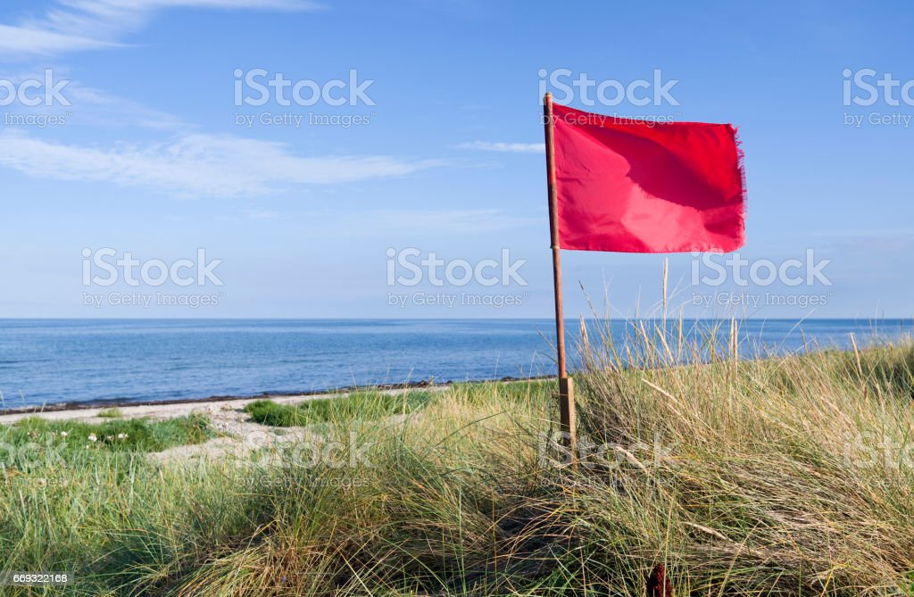 Denmark: View from the dunes over the beach and the Kattegat Sea stock photo