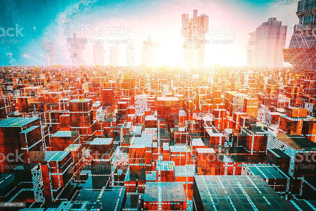 Dense, crowded futuristic cityscape stock photo