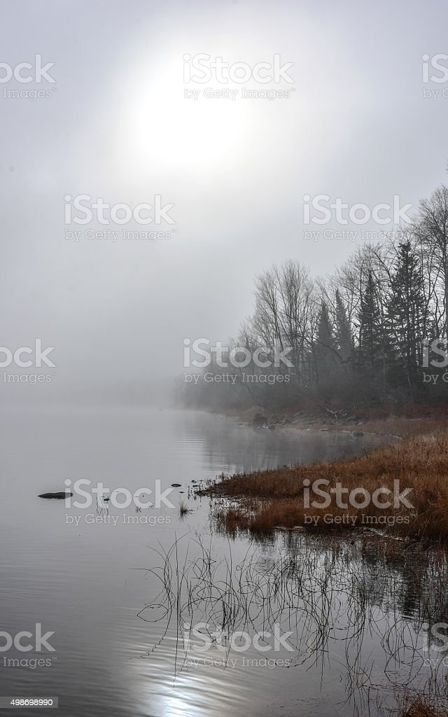 Dense fog - diffused bright light - Ottawa River shoreline. stock photo