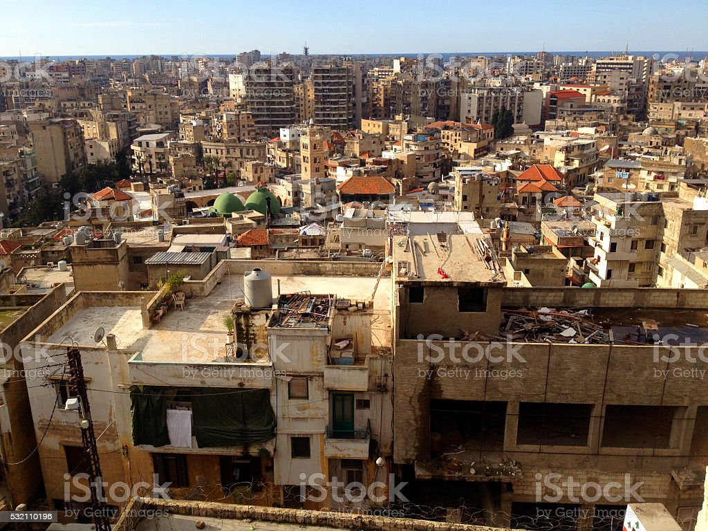Densely populated city of Tripoli Lebanon. stock photo