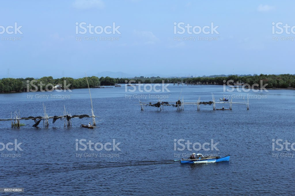 Densely populated fishing village in Makassar, South Sulawesi, Indonesia stock photo