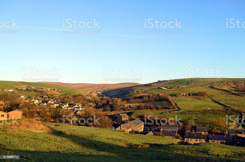 Denshaw village in Saddleworth stock photo