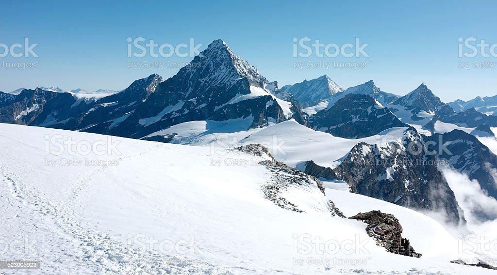 Dent de Bertol from summit of Tete Blanche stock photo