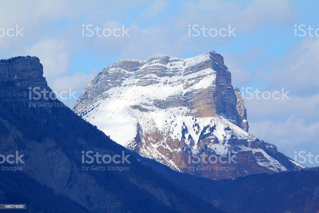Dent de Crolles with snow stock photo