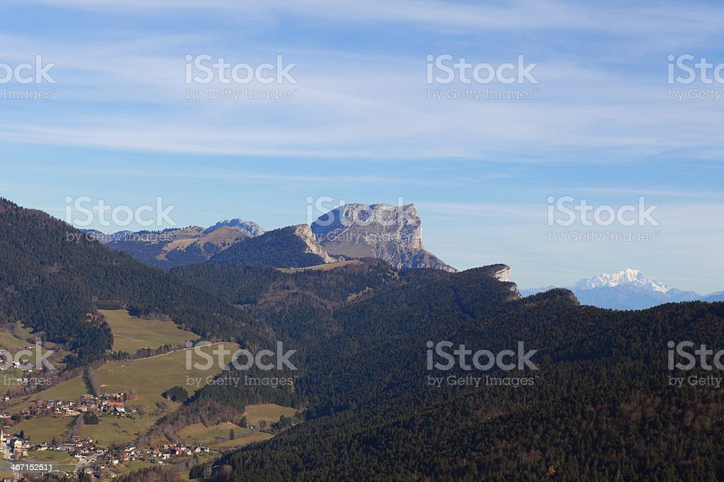 Dent du Crolles and Montblanc Mountains, Europe. stock photo
