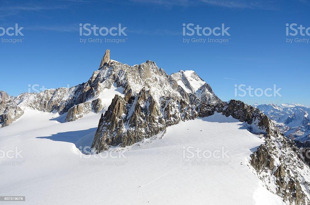Dent du Geant, Mont Blanc massif, Italy stock photo
