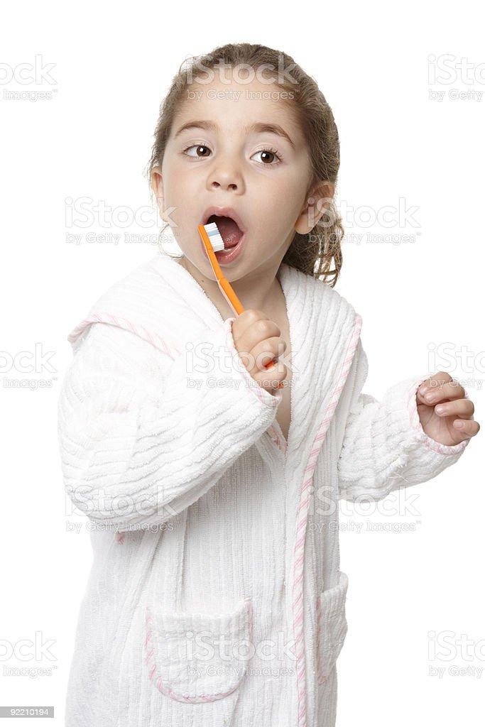 Dental care - child brushing teeth royalty-free stock photo