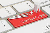Dental Care concept, on the keyboard, 3D rendering