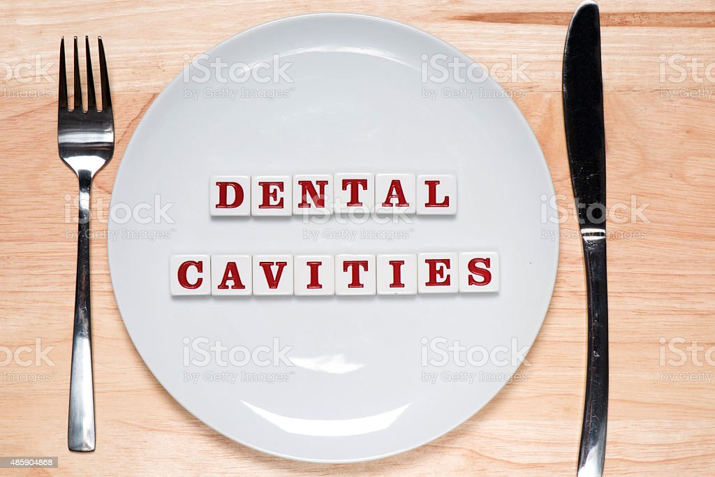 Dental cavities - healthy eating concept stock photo